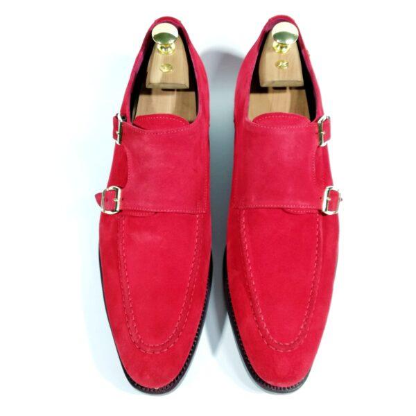 zanni-men-shoes-cefalù-handmade-handcrafted-bespoke-made-in-italy-italian-leather-monk-strap-suede-red-color-exclusive-prestige-fashion-style-scarpe-uomo-eleganti-artigiani-shop-on-line-luxury